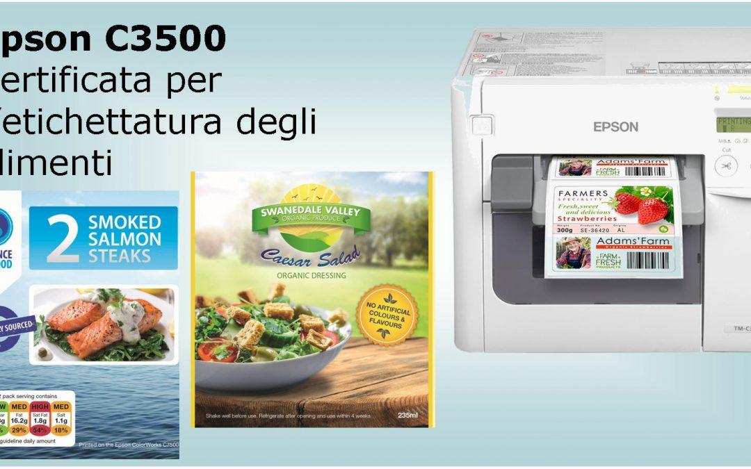 Epson ha ricevuto la certificazione europea ISEGA per il contatto diretto con gli alimenti per la sua stampante digitale ColorWorks C3500